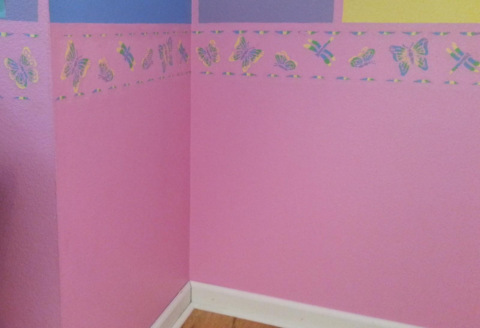wall stencil border girl pink butterflies dragonflies