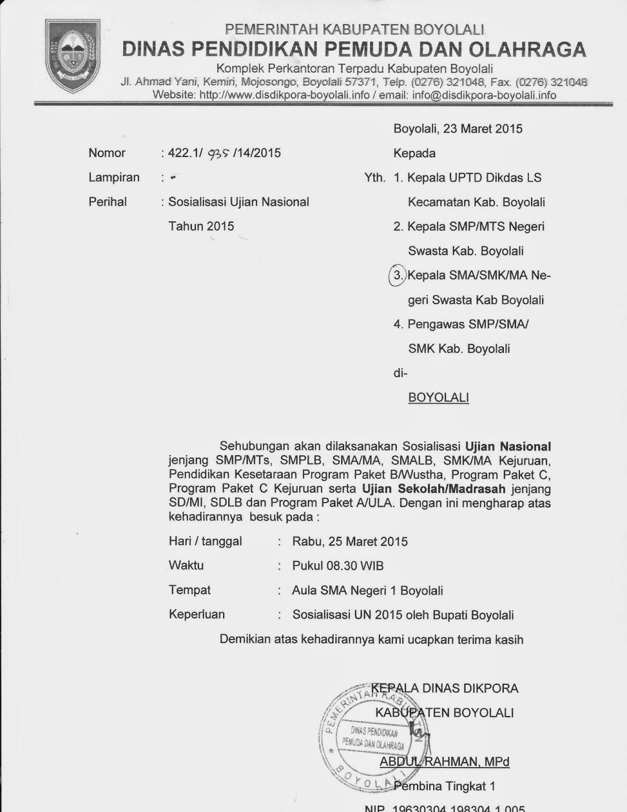 Info Sma Smk Kabupaten Boyolali Undangan Sosialisasi Un 2015 Oleh Bupati