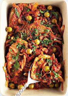 Steak With Tomato and Olive Sauce