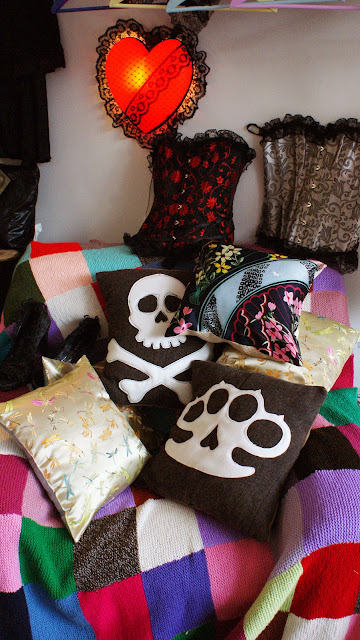 Julie Landau, welcome, shadow box, Kaiser, Calavera, cushions, Clerkenwell, vintage, home made, rockabilly