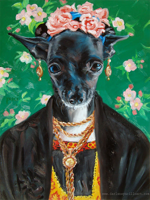 Little chihuahua dressed as Frida Kahlowith flowers in her hair, earrings, necklaces and a black coat.