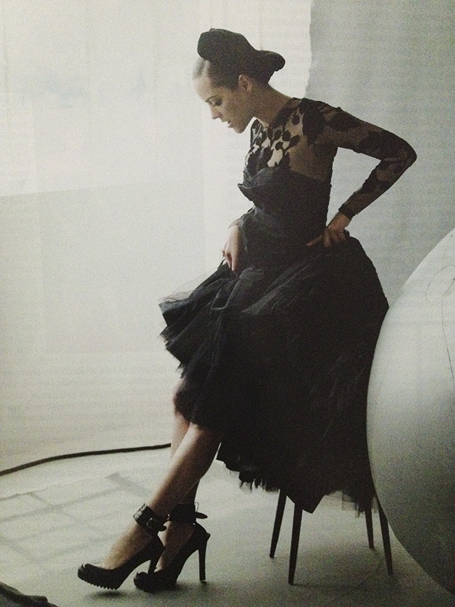 1950s inspired dress worn by Marion Cotillard in Vogue. McQ Dress.
