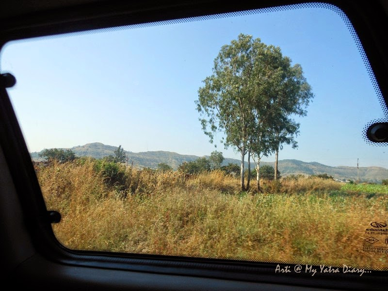 View of the Mumbai-Pune Expressway from the window of my car, Maharashtra India