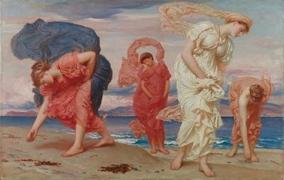 Les Jeunes filles grecques ramassant des galets au bord de la mer de Leighton
