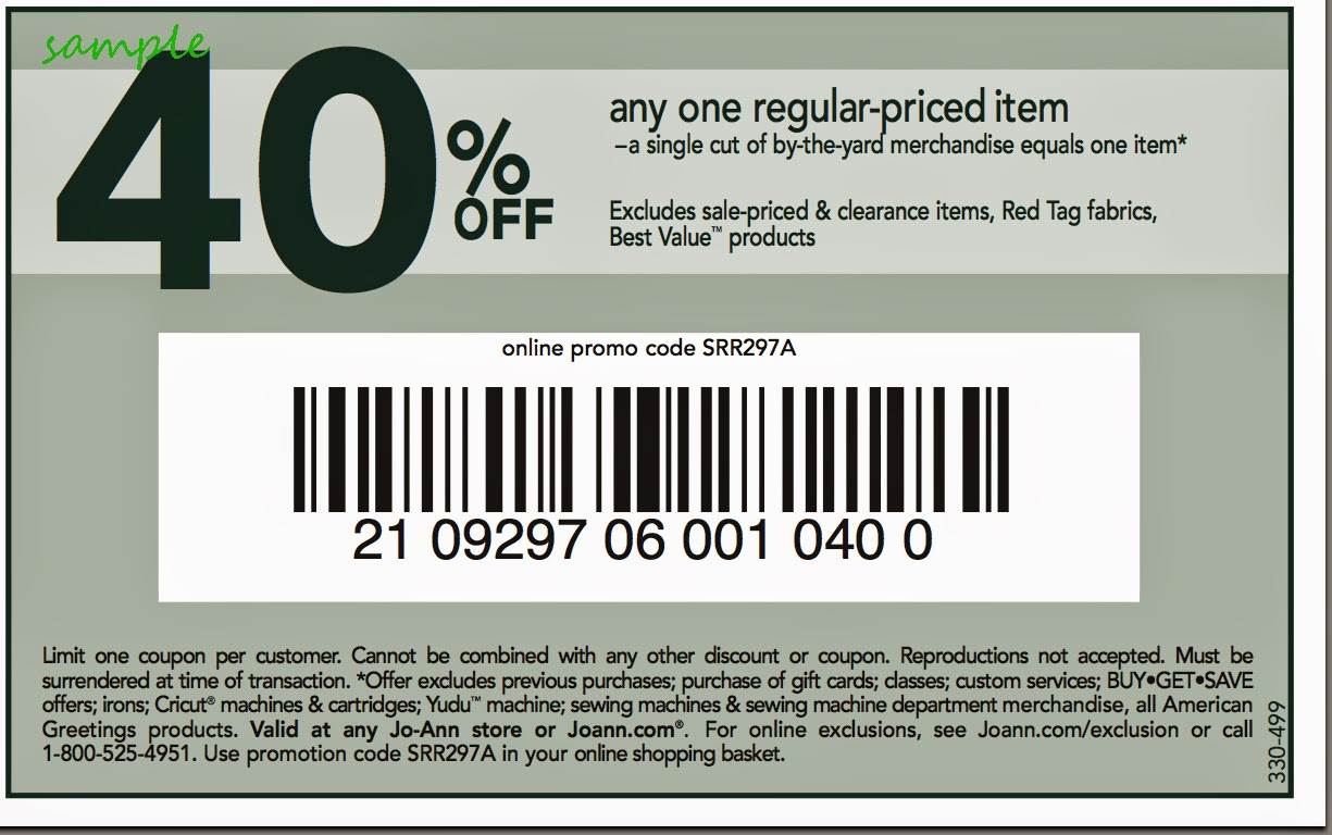 See all Joann coupon codes and in store printable coupons to save 50% off one item, 15% off your entire purchase, or get free shipping on orders of $40 or more. To save even more money, Joann's sales offer up to 60% off hundreds of quality items, including thousands fabrics, sewing supplies, sewing machines, baking supplies, scrapbooking items.