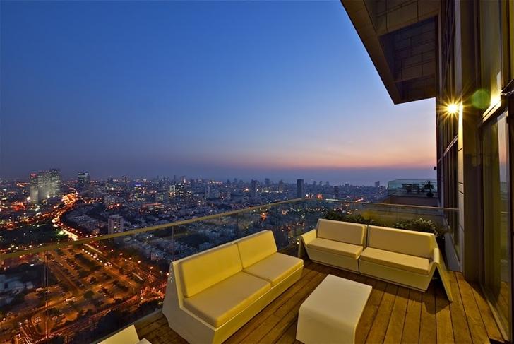 Penthouse terrace at sunset