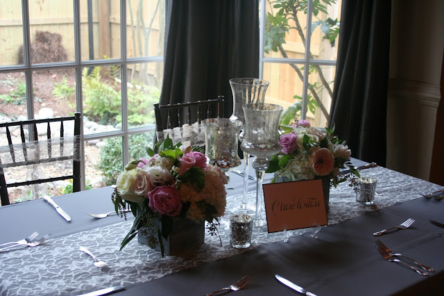 Isha Foss Events, floral design, lace runner, barn boxes, Virginia Beach, Sweetwater Cuisine