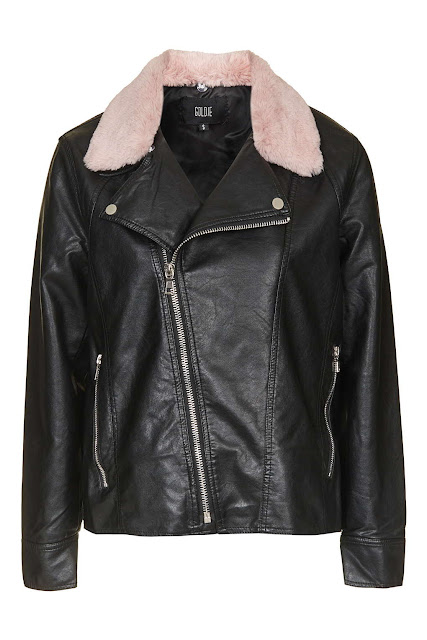 pink fur collar biker jacket, pink collar leather jacket, goldie fur collar leather jacket,