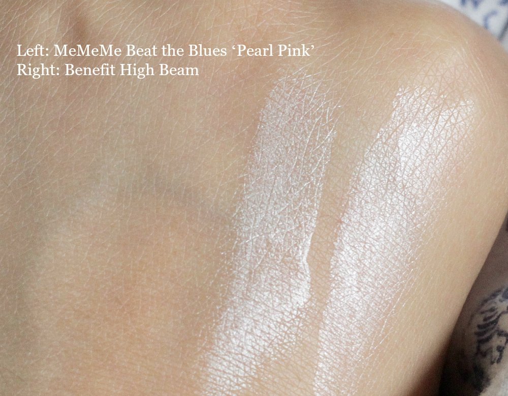MeMeMe Beat the Blues 'Pearl Pink' highlighter and illuminator Vs Benefit High Beam review and swatch