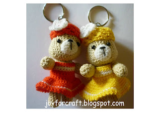 Amigurumi Red Yellow Cute Bears Keychain Pattern