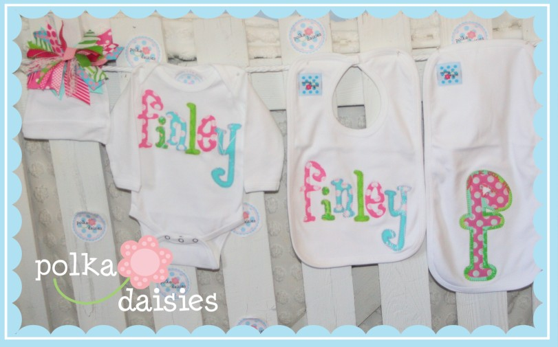 Polkadaisies boutique childrens clothing and gifts polkadaisies polkadaisiesstom personalized baby gifts name onesie ribbon beanie bib burp cloth negle Images