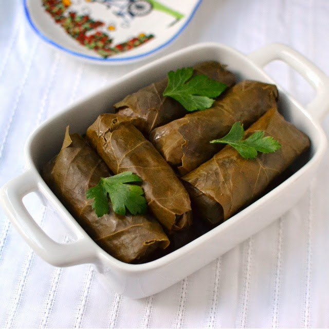 Sarma -- Turkish Stuffed Grape Leaves (Vegetarian recipe)
