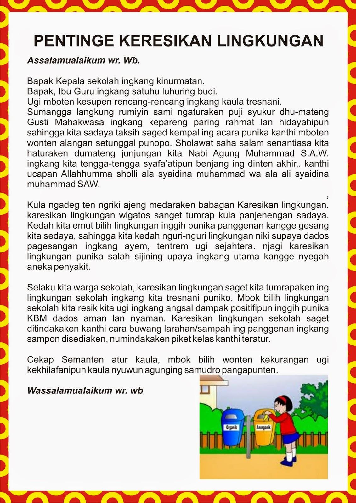 Naskah Sesorah Bahasa Jawa Tentang Kebersihan
