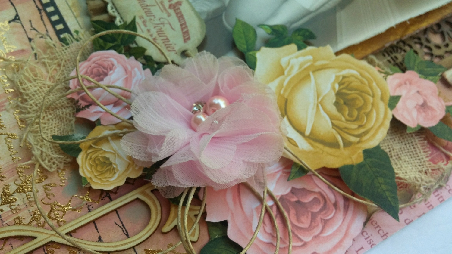 Juliet scrapbook ideas - For My Centerpiece Flower I Used One Of My Favorite Fabric Blooms From My Friend Lucy S Etsy Shop Tresors De Luxe I Thought The Fluffy Pink Bloom Would Go