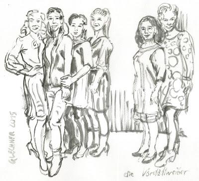 Vorstadtweiber, Zeichnung, Glechner, ORF, Uli Brée, Julia Stemberger, Hilde Dalik, Sabine Derflinger, Harald Sicheritz, Tusche, Pinsel