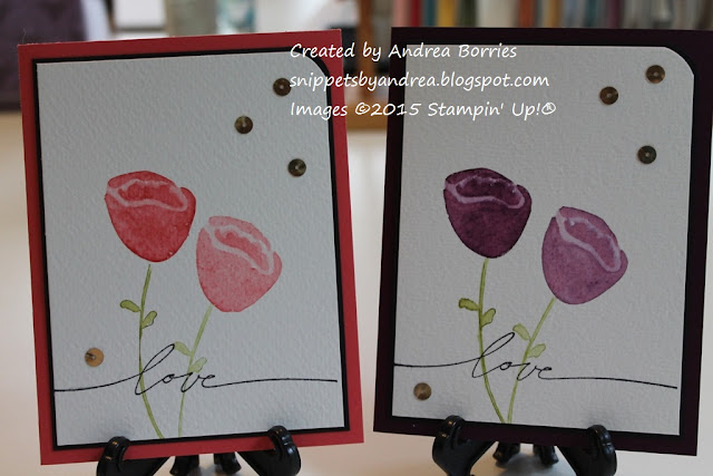 Clean and simple cards featuring watercolor tulips from the set Awash with Flowers.