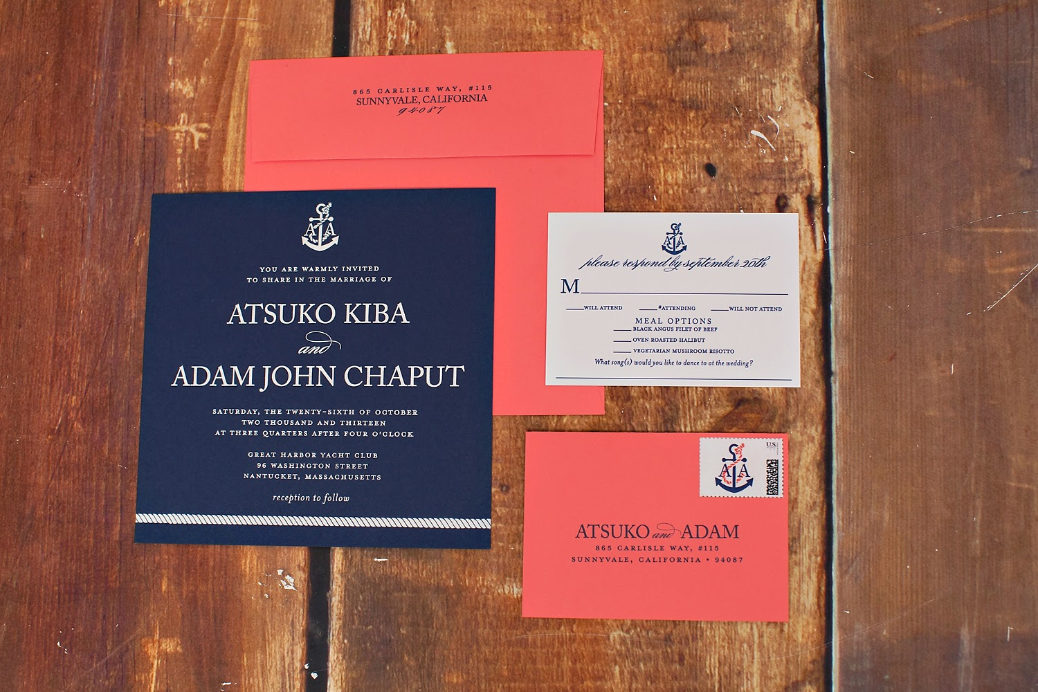 Nautical Nantucket Wedding Invitation