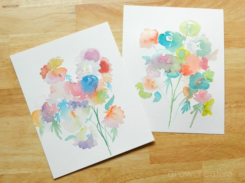 Original Watercolor Flowers, Semi-Abstract Style by Elise Engh: Grow Creative