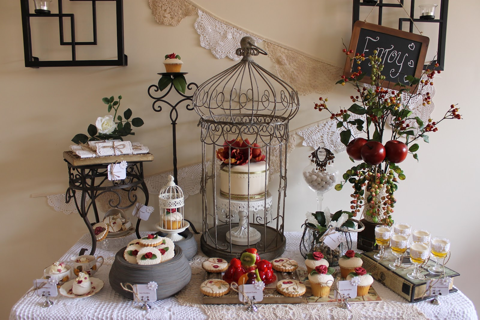 Events by nat my vintage rose and doily inspired 32nd for Vintage theme ideas