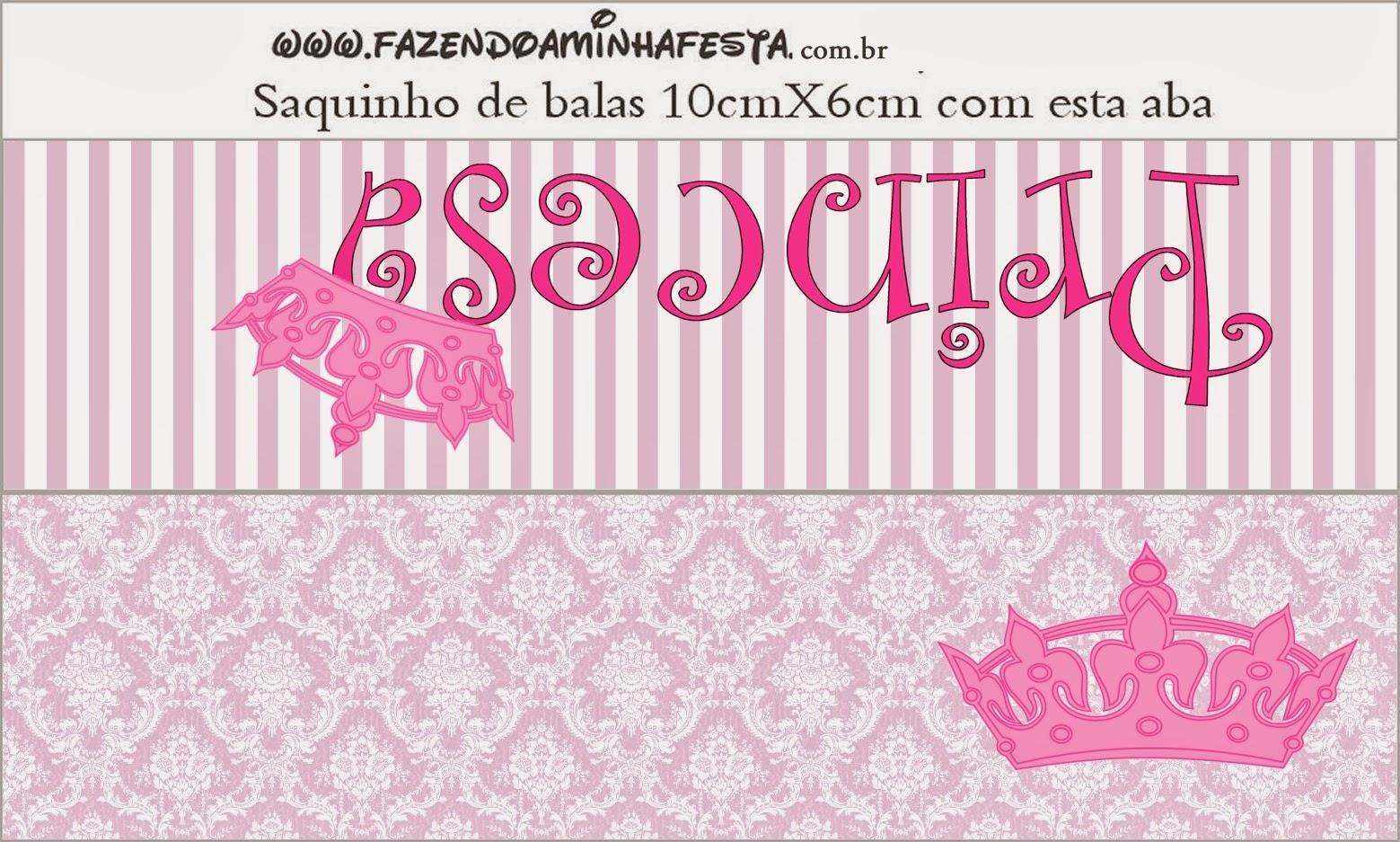 Etiqueta para bolsas de golosinas de Fiestas de Princesas.