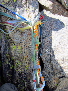 This was our rappel system. 30m of 10.2mm dynamic climbing rope and 30m of 6mm cordage (tagline) tied together.