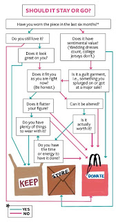 info graphic chart with questions to help clean out clothes closet