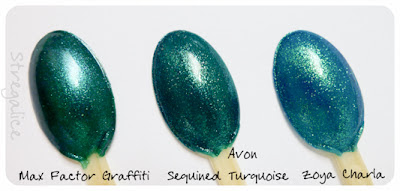 Max Factor Graffiti - Avon Sequined Turquoise - Zoya Charla comparison