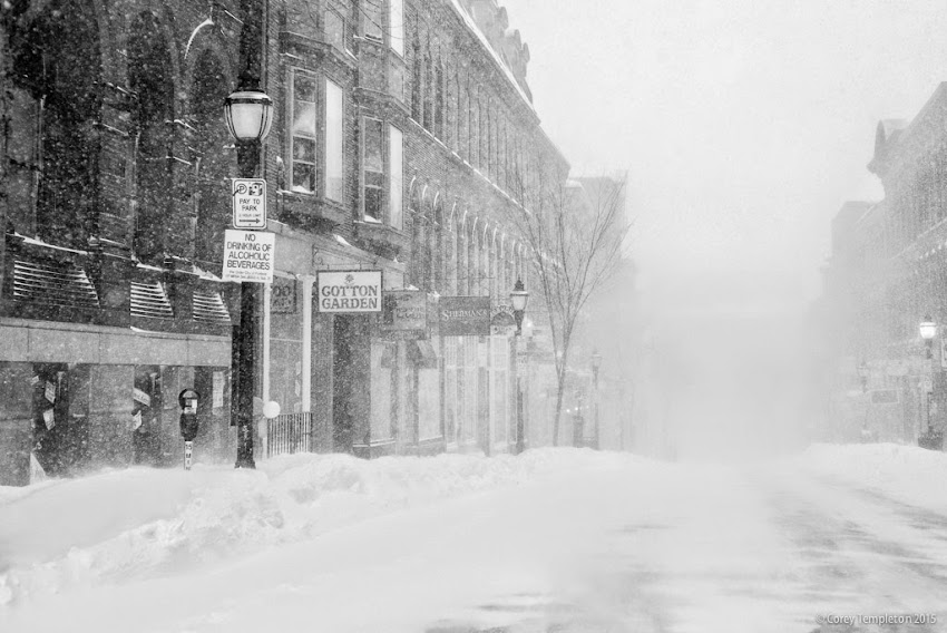 Portland, Maine Winter snow on Exchange Street in the old port black and white photo by Corey Templeton January 2015