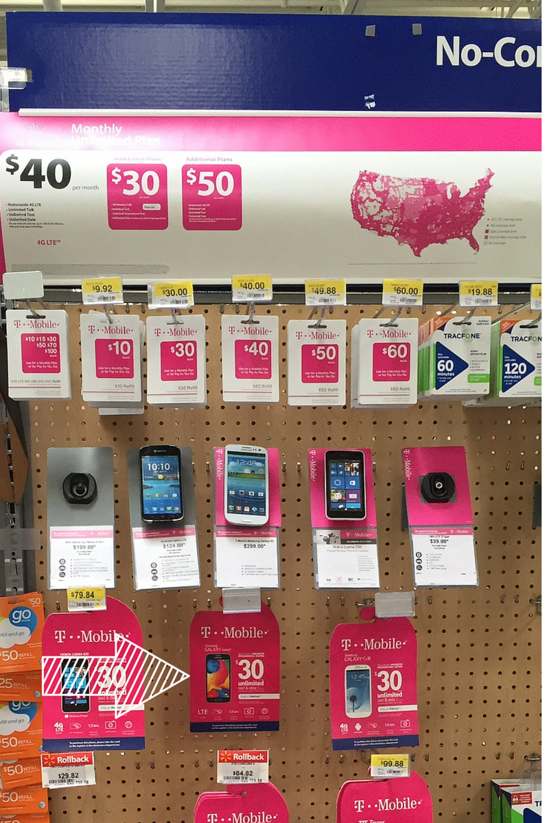 Walmart display of T-Mobile Simply Prepaid cell phones