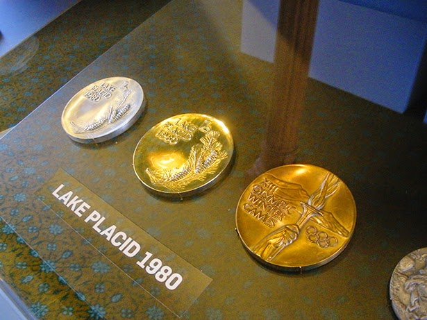 Medals from Lake Placid 1980 at the Olympics Museum in Lausanne, Switzerland