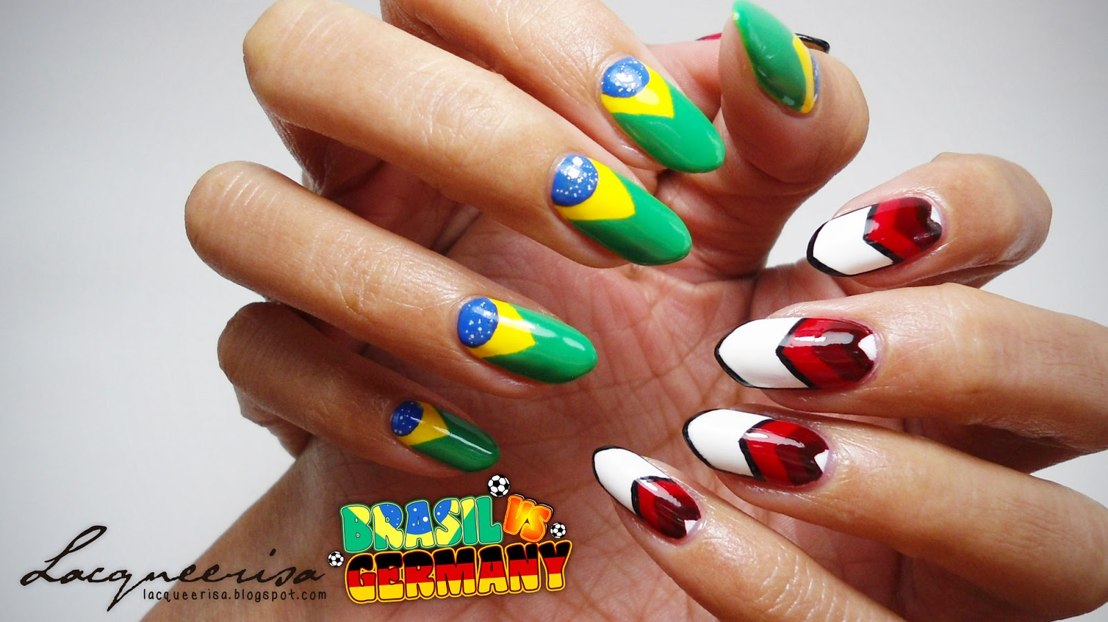 Brazil vs Germany Nails lacqueerisa.blogspot.com