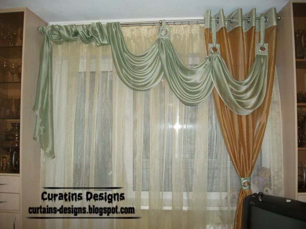 Delightful This Living Room Curtain Is One Of Unique Curtain Designs For Modern Living  Room Interiors, Itu0027s Designed Of 3 Fabric Color Schemes, Green Drapery, ... Part 25
