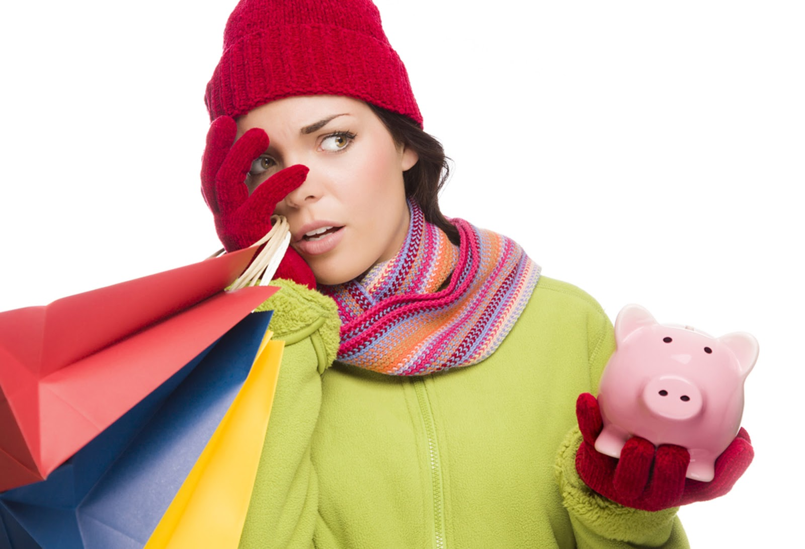 woman worried after holiday shopping and spending money