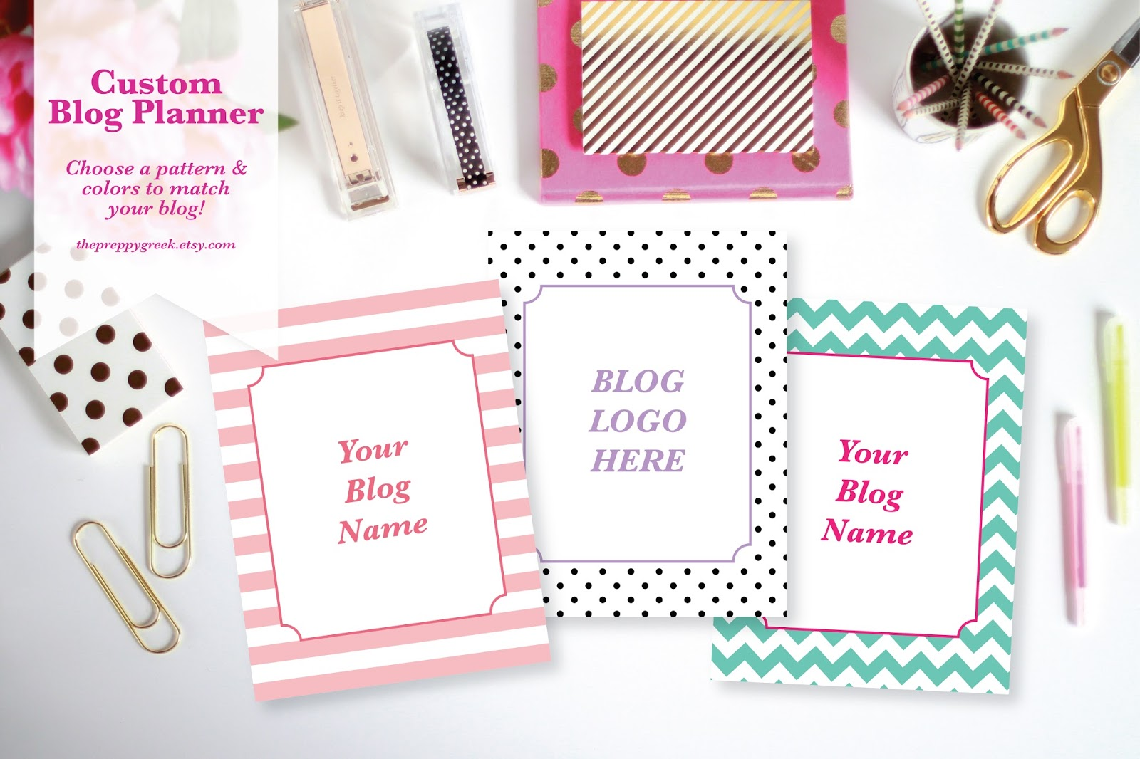 Custom Blog Planner! Choose a pattern and colors to match your blog branding. You can even have your logo added to the front cover!