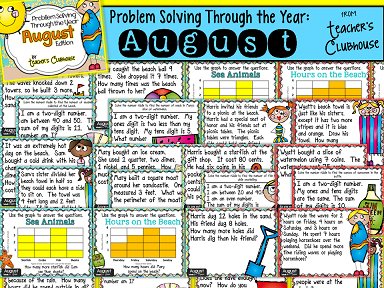 http://www.teacherspayteachers.com/Product/Problem-Solving-Through-the-Year-BUNDLED-SET-August-May-1313113