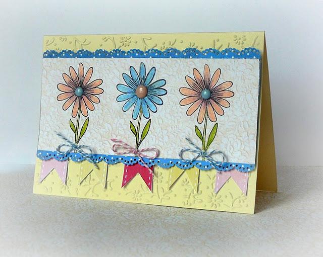 kartka ze stemplowanymi kwiatkami