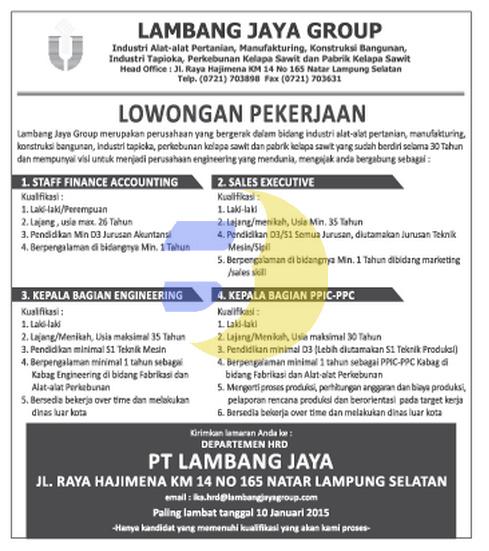 Lowongan Kerja Lampung, Minggu 28 Desember 2014 di perusahaan PT. Lambang Jaya Group