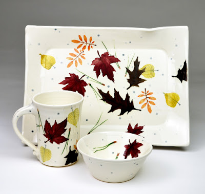 stoneware pottery autumn leaves design