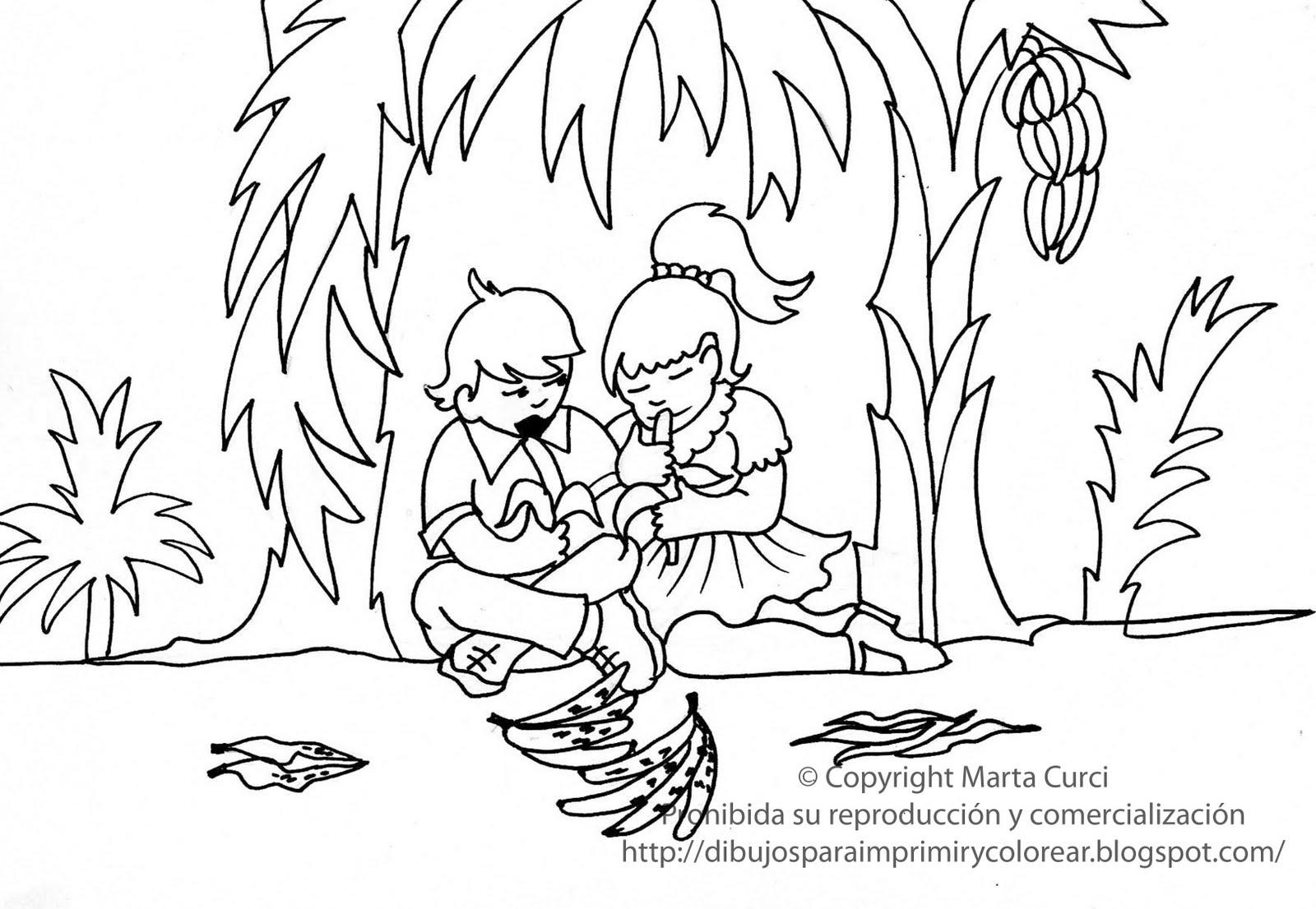para imprimir y colorear gratis para niños: Dibujo de niños comiendo ...