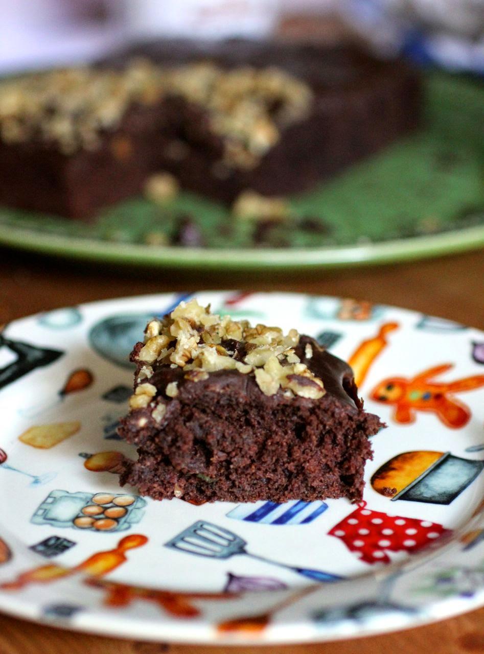 smoky walnut and zucchini chocolate brownie