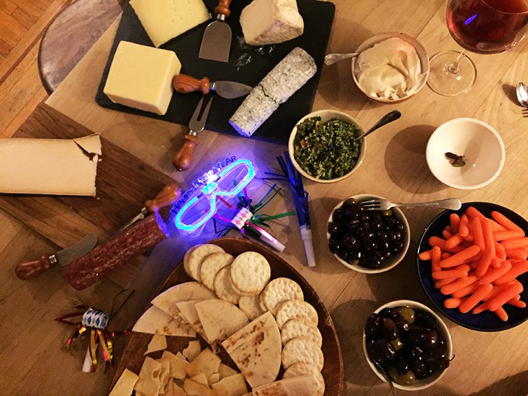 New year's eve feast, hors-d'oeuvres, cheese plate
