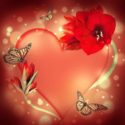 Postal con corazón, flores y mariposas.