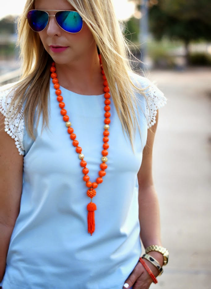 Lisi Lerch Orange Beaded Tassel necklace