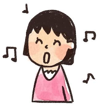 歌をうたう女の子のイラスト(合唱)