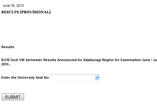 Vtu 8th semester result 2015 for kalburgi gulbarga mysore for Rgpv time table 6th sem 2015