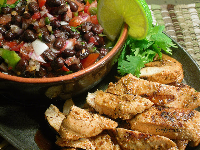 Comfy Cuisine: Grilled Mojito Lime Chicken with Fresh Black Bean Salsa
