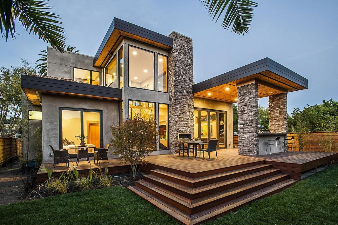 Beau Modern Backyard Terrace Of Contemporary Style Home In Burlingame