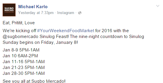 Sugbo Mercado Sinulog 2016 Schedule