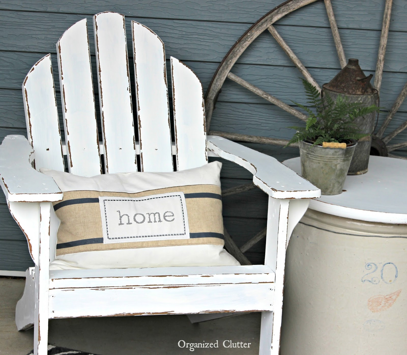 Organized Clutter Authentically Chippy Distressed Adirondack