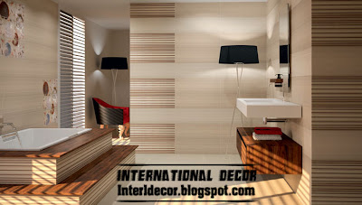 contemporary wall tile design for bathroom, stripes tiles